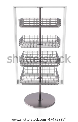 Empty display stand with wire shelves. Isolated on white background, include clipping path. 3d render