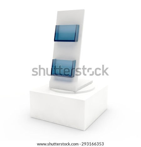 empty display with pockets for advertizing production on a pedestal