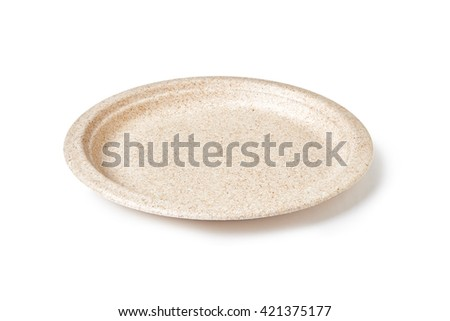 empty disposable  paper plate isolated on white background