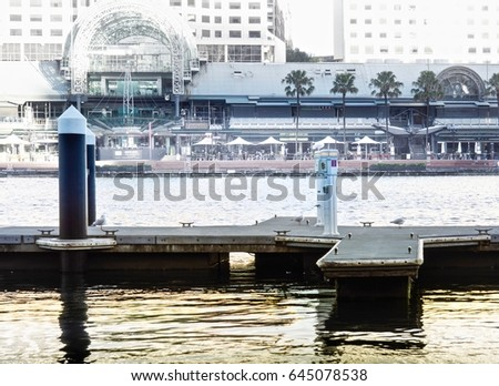 Empty Dock At Darling Harbor On Shopping Mall Background
