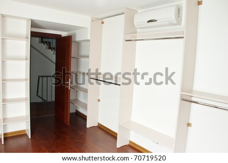 Empty dressing room in a new apartment