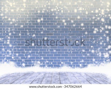 empty dye brick wall with ice cover a wooden floor and snowing ,Ready for product display montage.   - stock photo