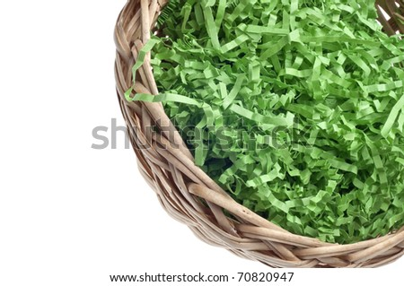 Empty Easter Basket Border With Decorative Grass