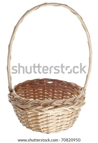 Empty Easter Basket Isolated on White with a Clipping Path. - stock photo