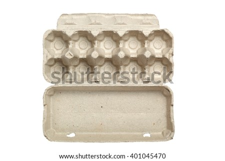 Empty egg carton isolated on white background