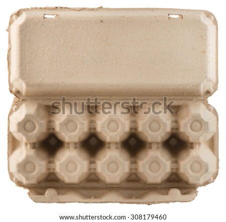 Empty egg package, paper box bottom view isolated on white background. - stock photo