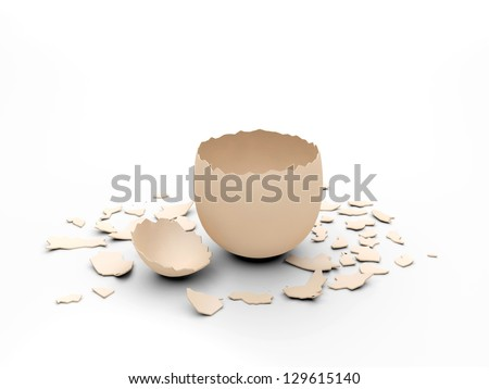 empty egg shell, you can place you design element into the empty egg shell - stock photo