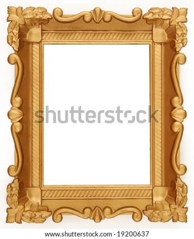 Empty Empty Gold photo frame isolated on pure white background.