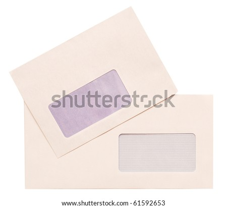 empty envelopes with a window, isolated on white