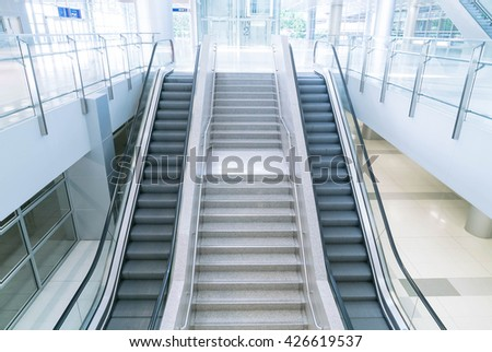 empty escalator and stair