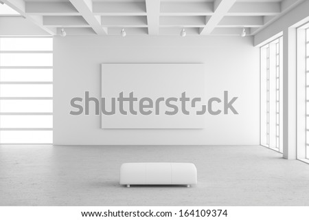 Empty exhibition hall with empty frame and concrete floor - stock photo