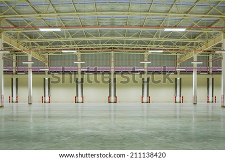 Empty factory background, nighttime. - stock photo