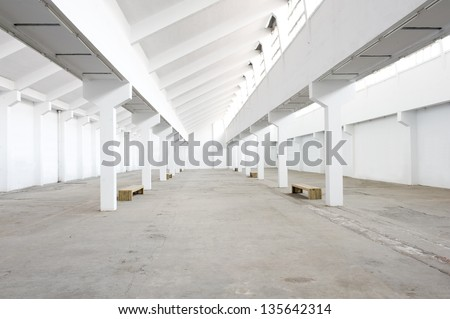 Empty factory workshop - stock photo