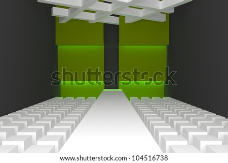 Empty fashion runway purple color lighting and green wall. - stock photo