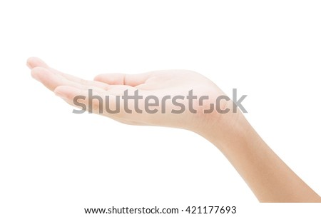 empty female hand holding isolated on white background