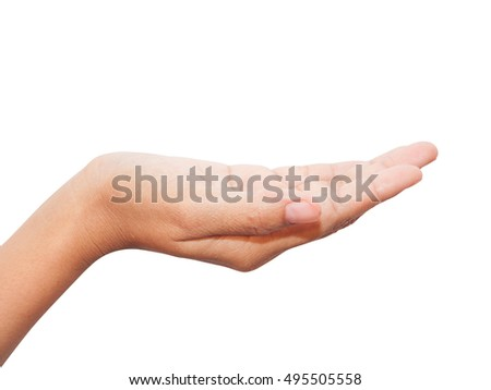 empty female hand on white background.
