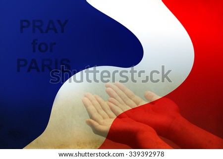 Empty female open human hands prayer with palms up in France color flag background, Pray for Paris, France support, aid, destiny and help concept campaign: All saints day - stock photo