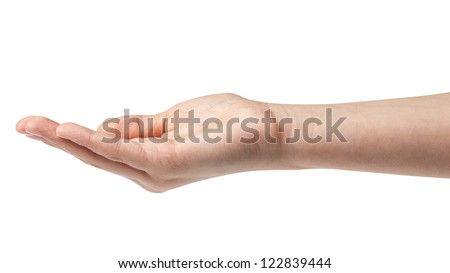 empty female teen hand isolated on white - stock photo