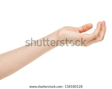 empty female teen hand, isolated on white
