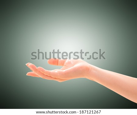 Empty female woman hand holding. Isolated on white.