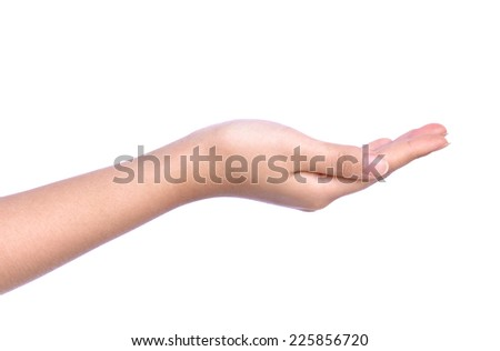 empty female woman hand holding isolated on white