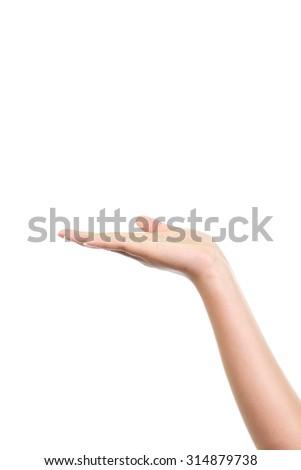 Empty female woman hand holding isolated on white background - stock photo