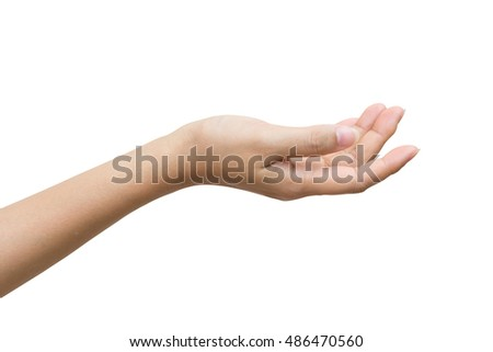 Empty female woman hand holding isolated on white background, Clipping path included.