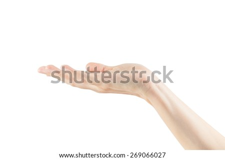 Empty female woman hand holding isolated on white background with clipping paths