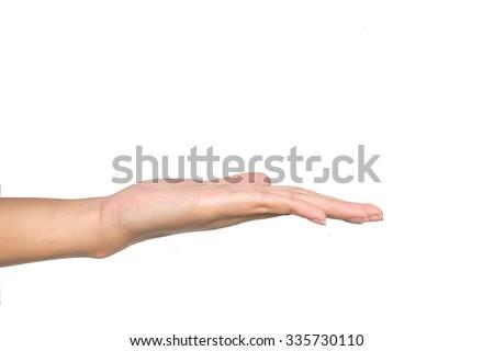 empty female woman hand holding  on white - stock photo