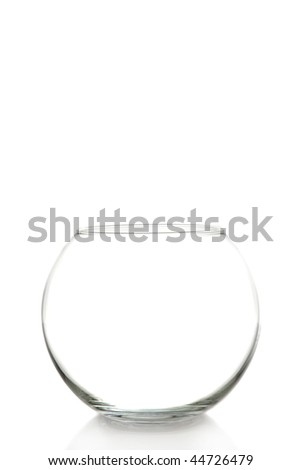 empty fish bowl on a white background with space for messages