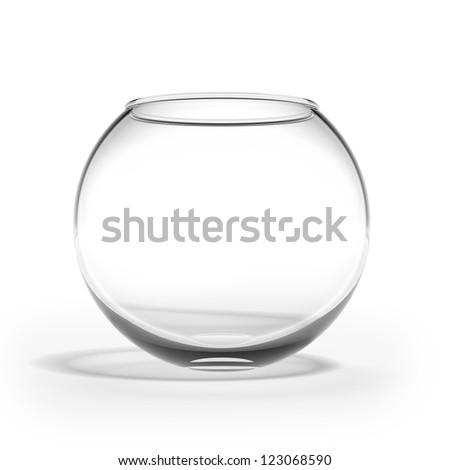 Empty fishbowl isolated on a white background - stock photo