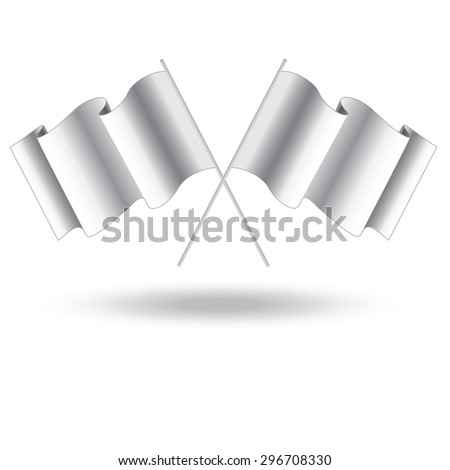 empty flag. Blank white flag. White banner with folds, separate shadows for on any color.  White Blank Flag Isolated on Background - stock photo