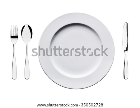 Empty flat plate with spoon, knife and fork isolated on white background.  View on cutlery set from top. Ceramic white dishes with fork, spoon and knife