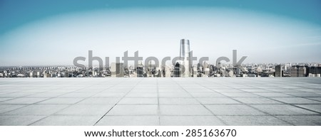 Empty floor and modern city skyline.The futuristic view deck structure is created with C4D by contributor. - stock photo