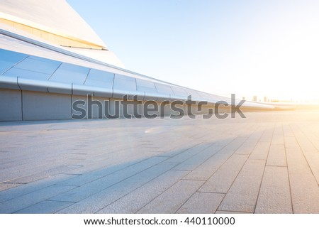 empty floor with cityscape and skyline of harbin - stock photo