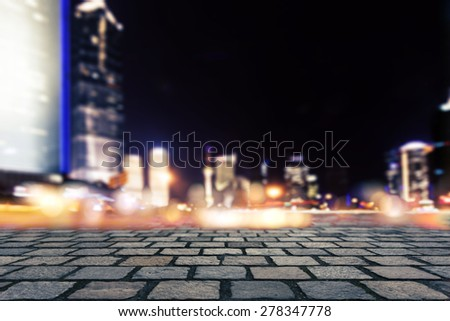 Empty floor with modern buildings  - stock photo