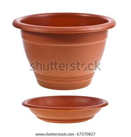 Empty Flower Pot isolated on white - stock photo