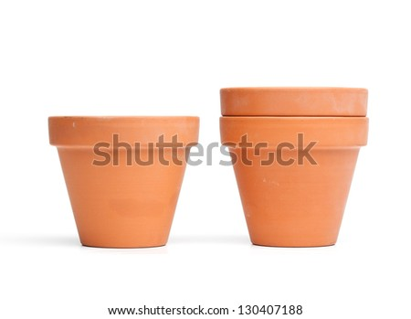 Empty flower pots made from clay, isolated on white background. - stock photo
