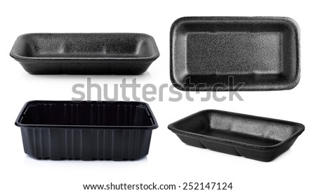 Empty foam and plastic food container isolated on white - stock photo