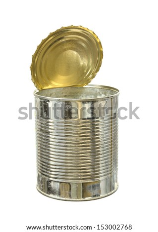 Empty food can isolated on white background - stock photo