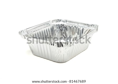 Empty food carton from low perspective isolated on white. - stock photo