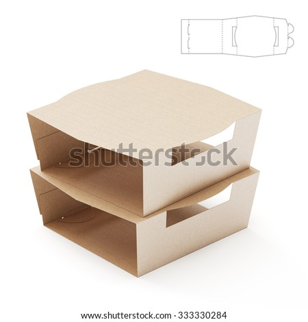 Empty Food Tray Sleeve Package with Die Cut Template
