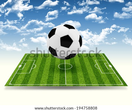 Empty football field with markup. Sports Concept - stock photo