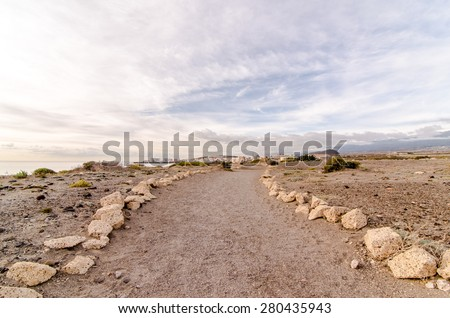 Empty Footpath in the Tenerife Canaty Islands Desert