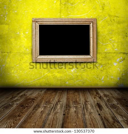 Empty frame in dark grunge room - stock photo