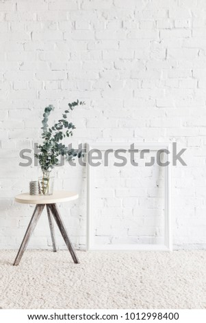 Empty Frame Front White Brick Wall Stock Photo (Royalty Free ...