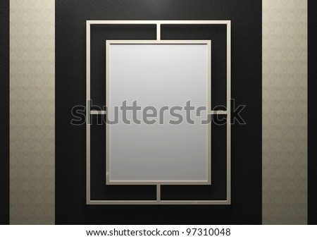 empty frame on the wall - 3d illustration