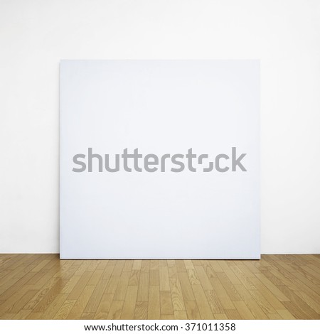 empty frame on wooden floor - stock photo