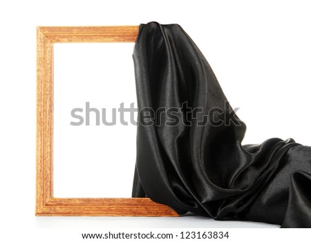 empty frame with silk, isolated on white - stock photo