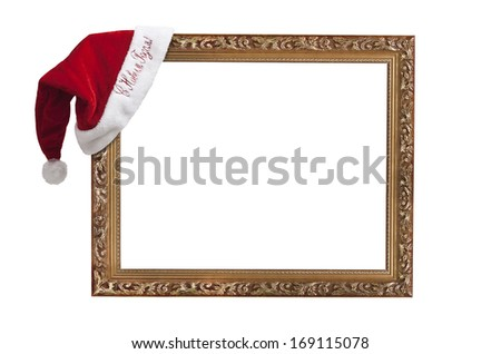 """Empty frame with the hat Santa Claus with the words """"happy new year!"""" in Russian. - stock photo"""